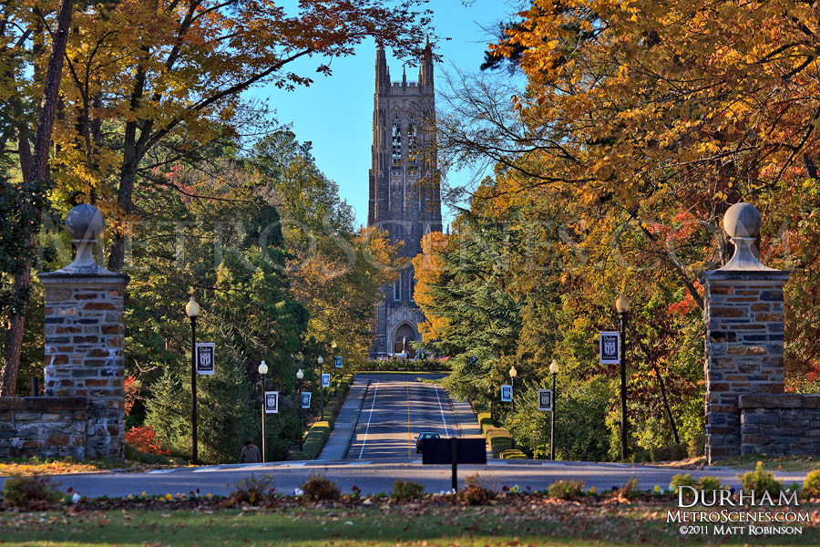 Autumn colors surround Duke Chapel on the campus of Duke University