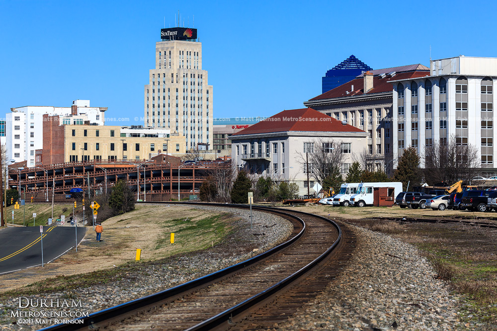 Railroad tracks leading into downtown Durham