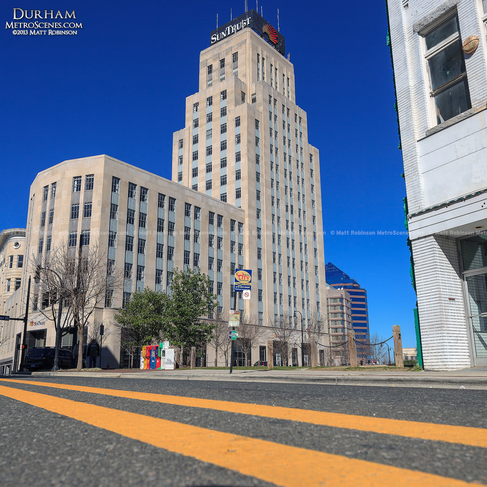 Suntrust Building in Durham with road lines