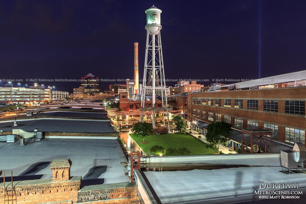 Durham NC Luck Strike Tower at night