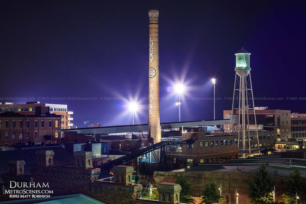 Durham NC Luck Strike Tower at night