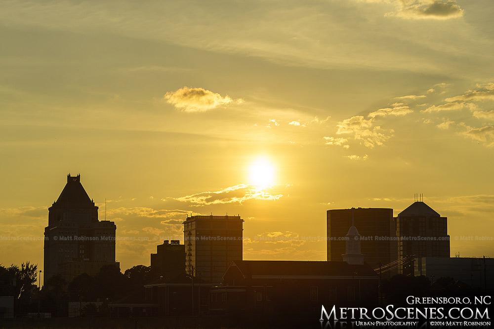 Greensboro skyline silhouette at sunset