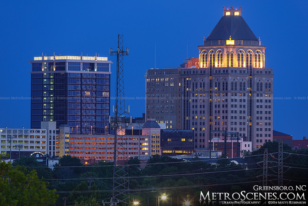 Lincoln Financial Building and Center Pointe at night in Greensboro