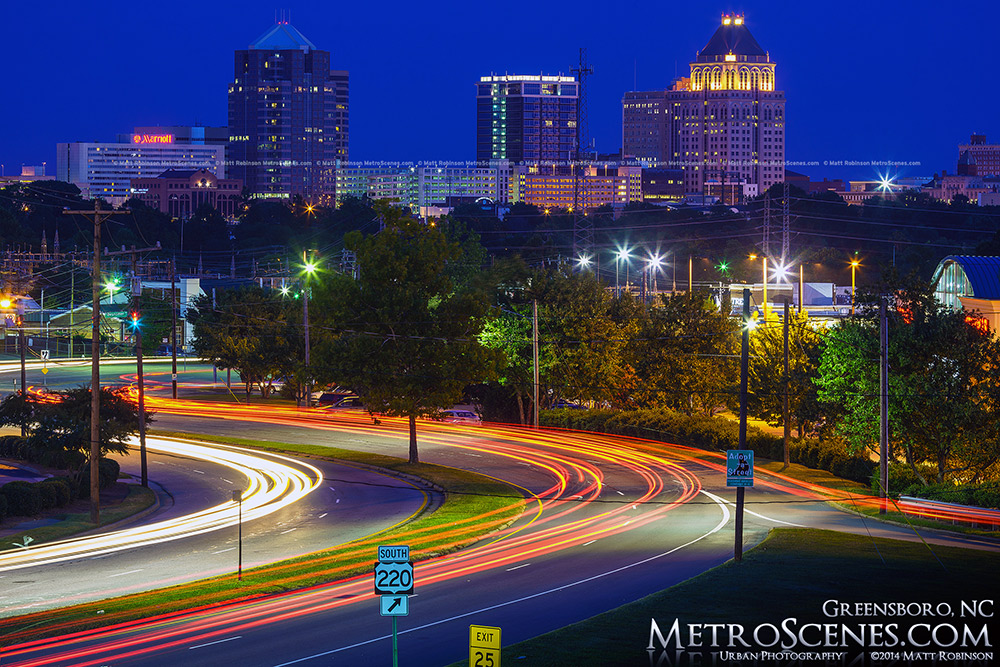 Traffic streams into Greensboro North Carolina at night