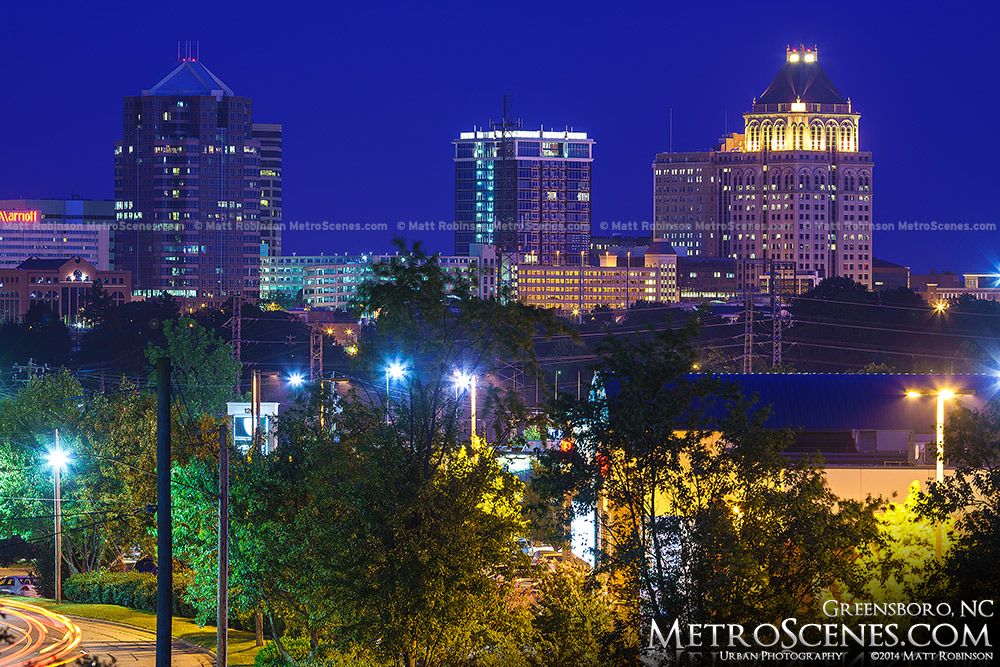 Greensboro cityscape at night