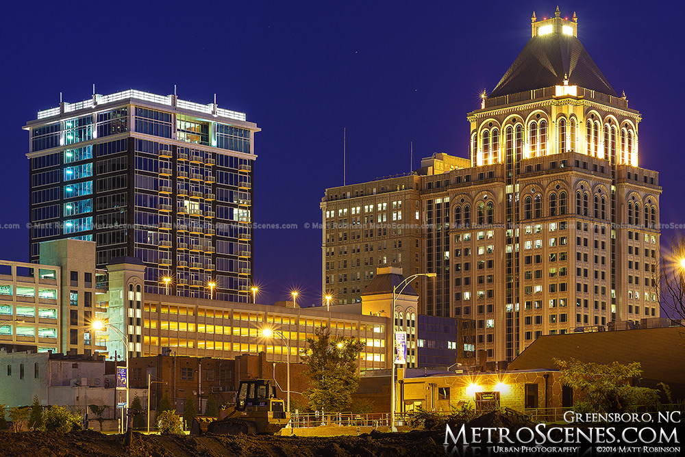Downtown Greensboro after dark