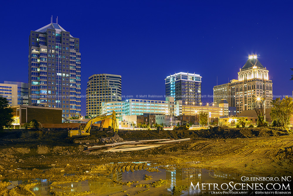 Construction with Greensboro Skyline