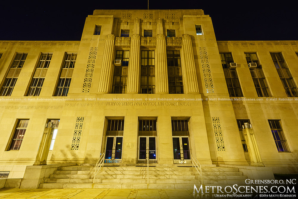 Greensboro Post Office and Courthouse at night