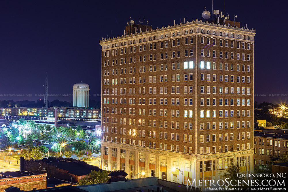 Guilford Building in Greensboro at night