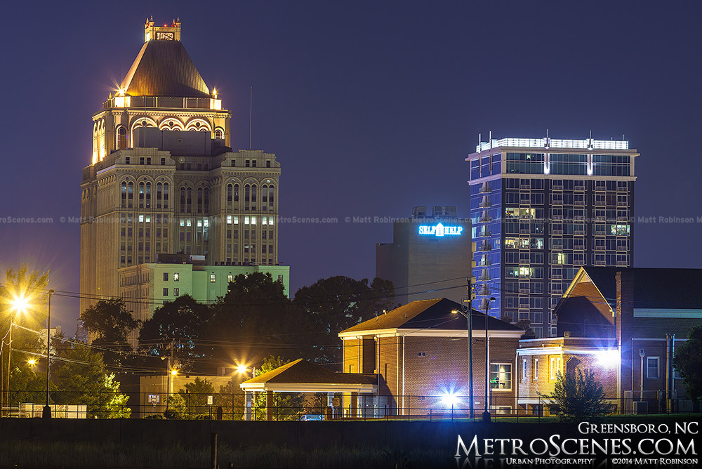 Greensboro Skyline at night time