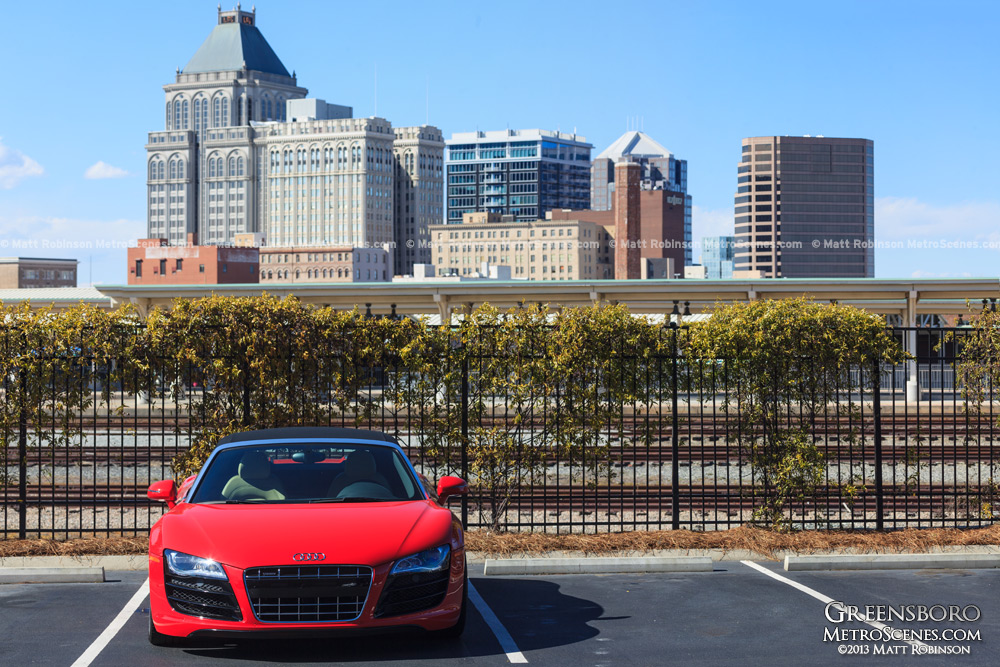 Red Audi R8 with Downtown Greensboro, NC
