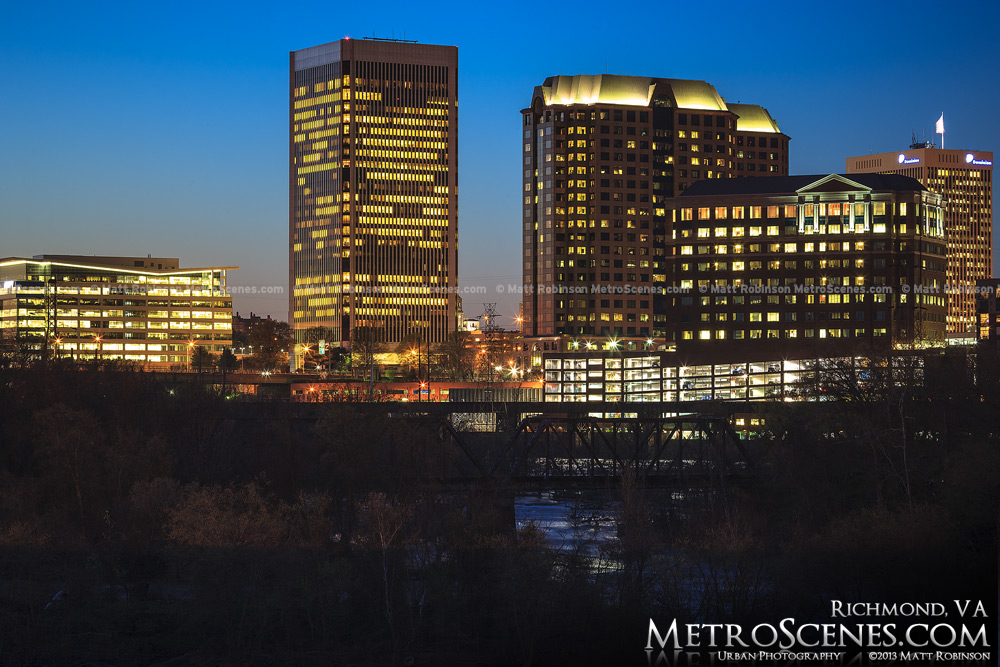 Richmond Federal Reserve Bank Building at night