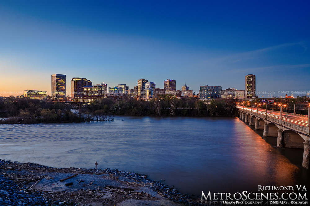 Richmond, Virginia Skyline at dusk with the James River
