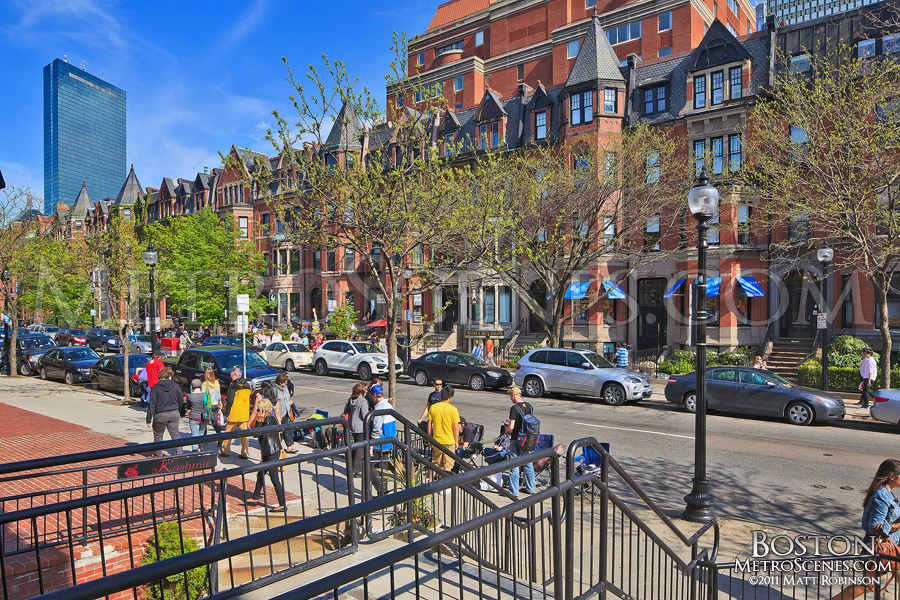 Newbury Street shops in Boston Back Bay