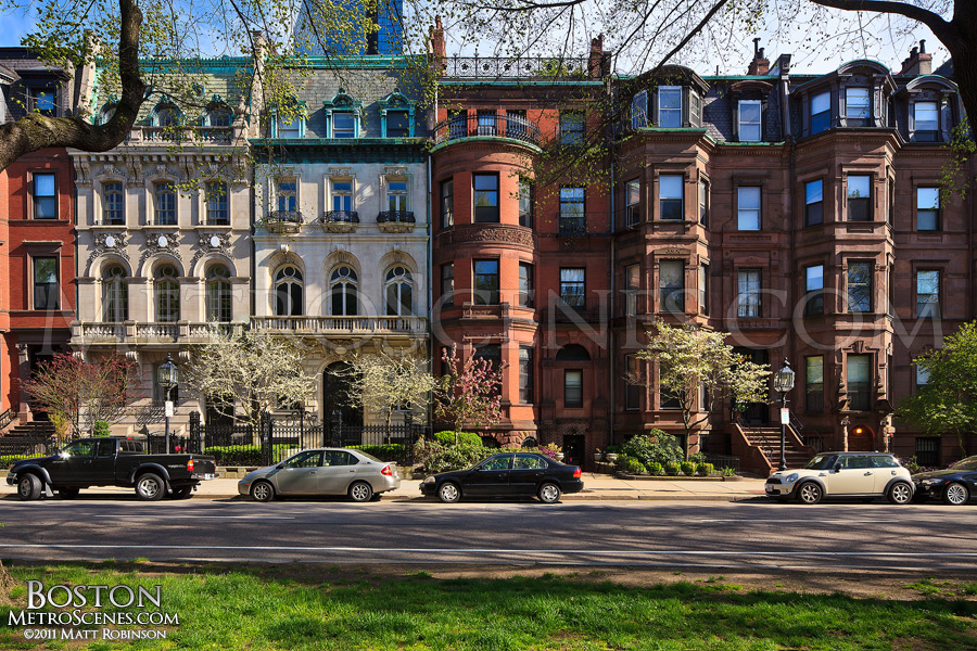 Commonwealth Avenue in Back Bay with spring trees