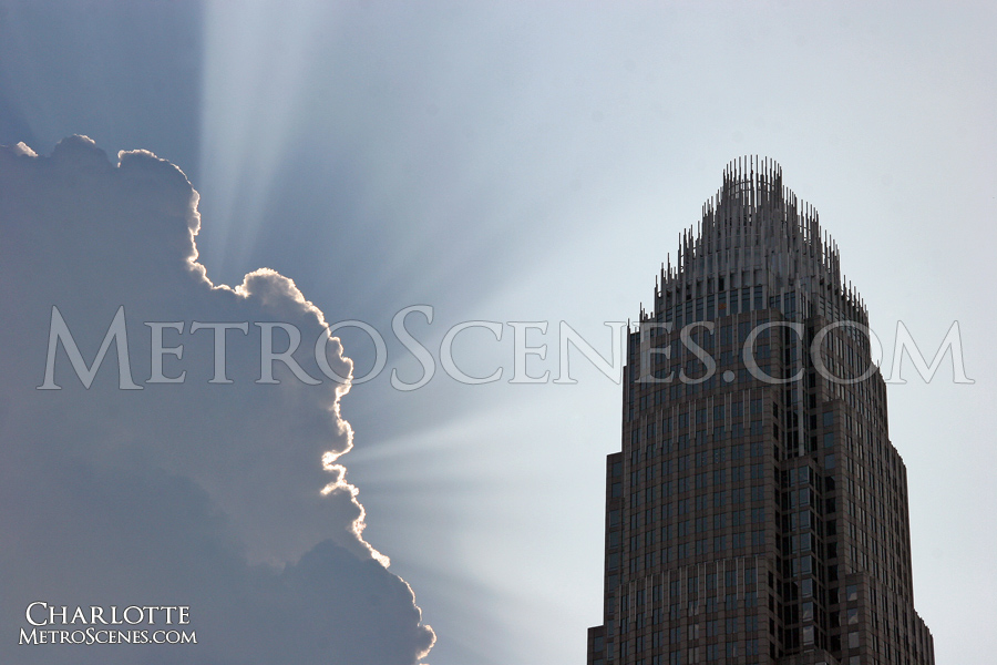 Sun rays burst from clouds, Charlotte, North Carolina.