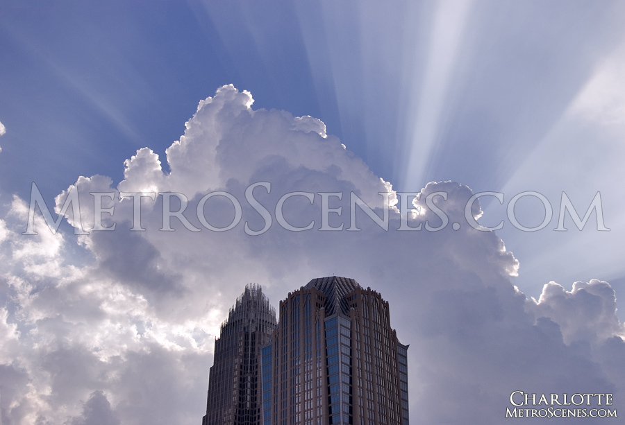 Sun rays burst from clouds, Charlotte, North Carolina.
