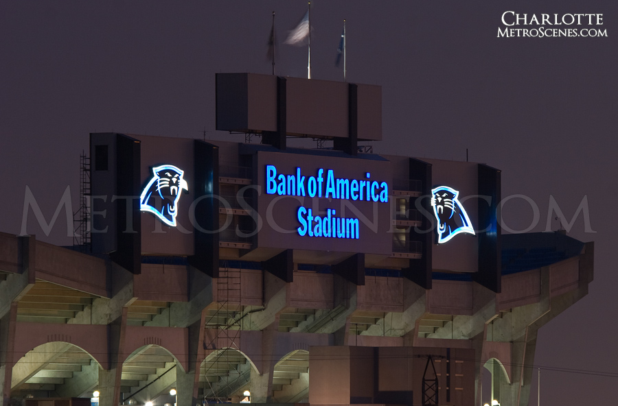Carolina Panthers Bank of America Stadium Charlotte, North Carolina at night.