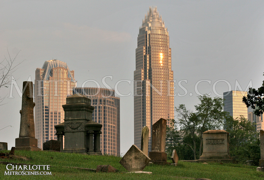 Downtown Charlotte and gravestones