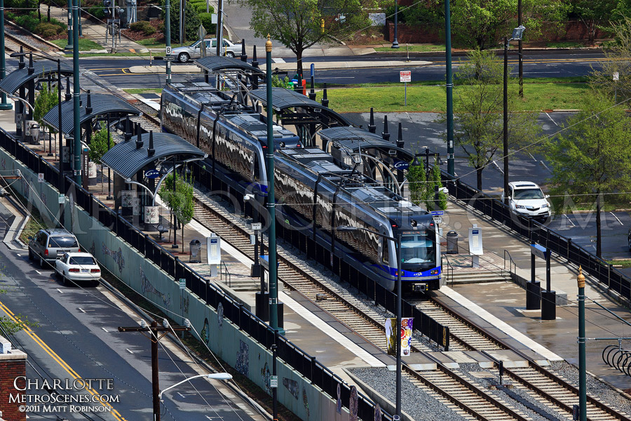 Charlotte's Lnyx light rail transit at a stop
