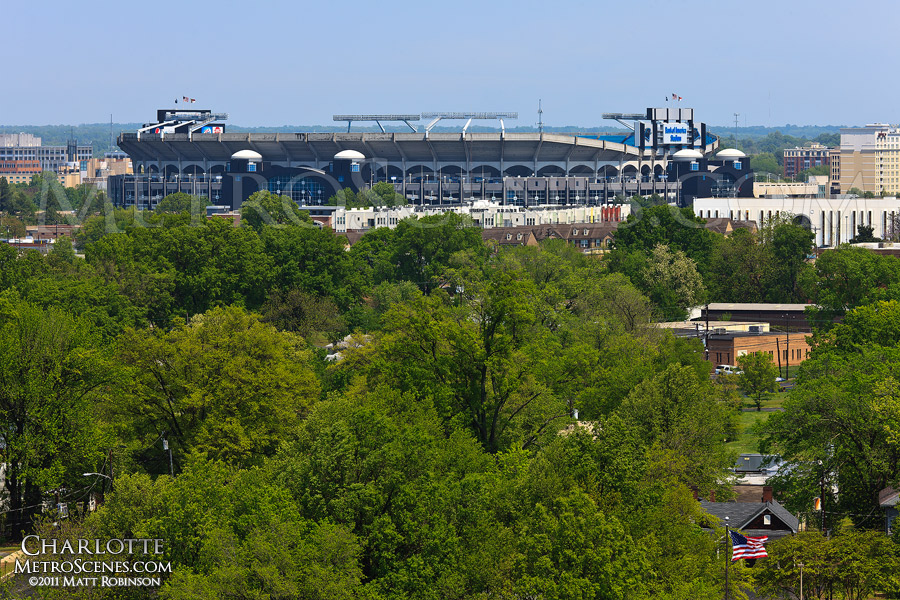 Bank of America Stadium sits atop lush green tree tops in Charlotte, NC
