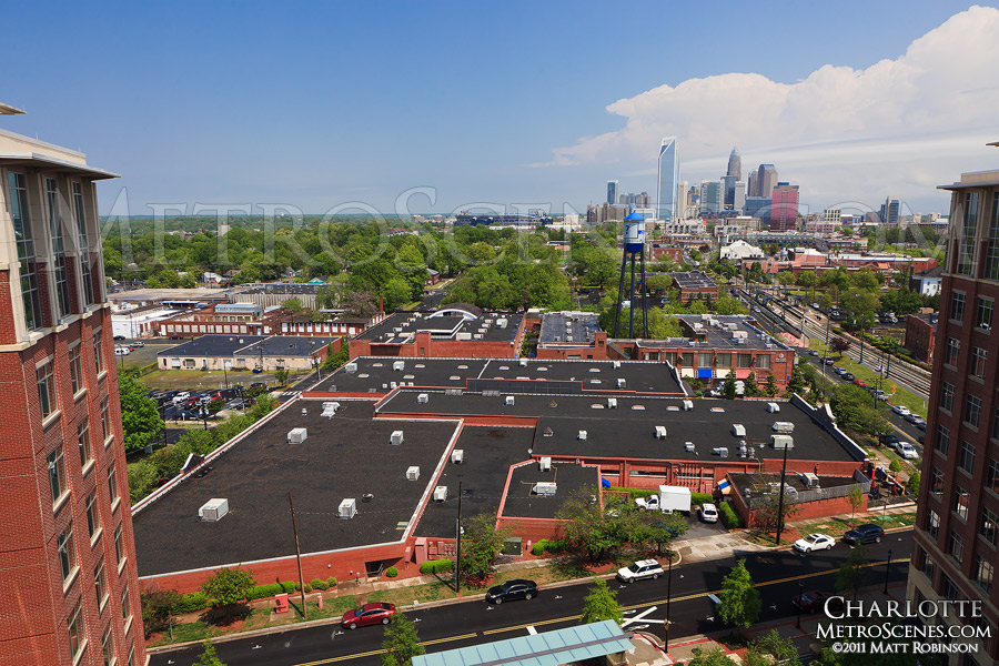 Charlotte skyline and the South End as seen from the Ashton