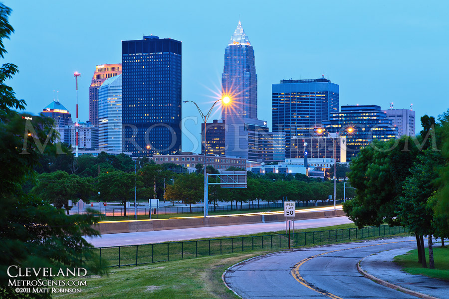 Cleveland Skyline from Marginal Road with Memorial Shoreway