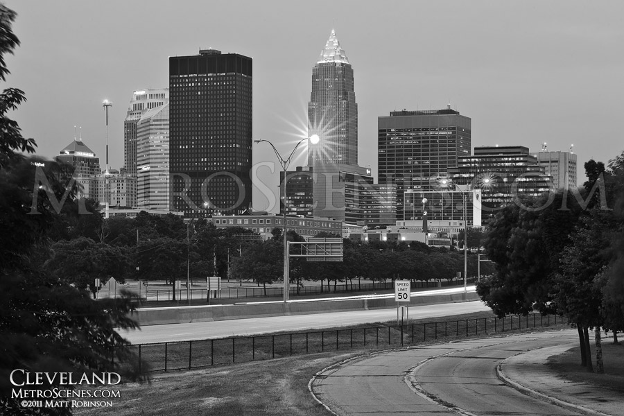Black and White Cleveland Skyline from Marginal Road with Memorial Shoreway