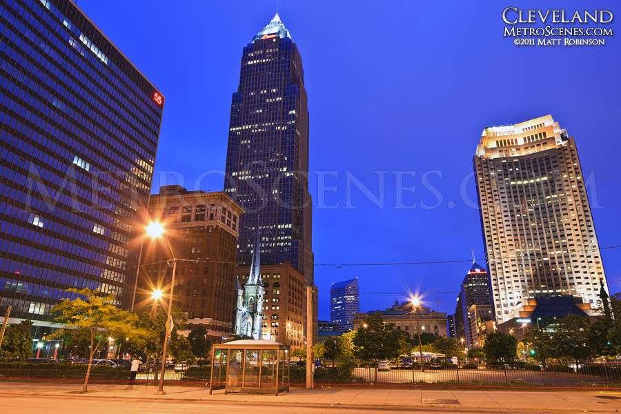 Key Tower in Downtown Cleveland at night