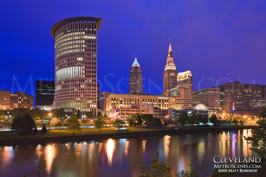 Cleveland Skyline and Cuyahoga River