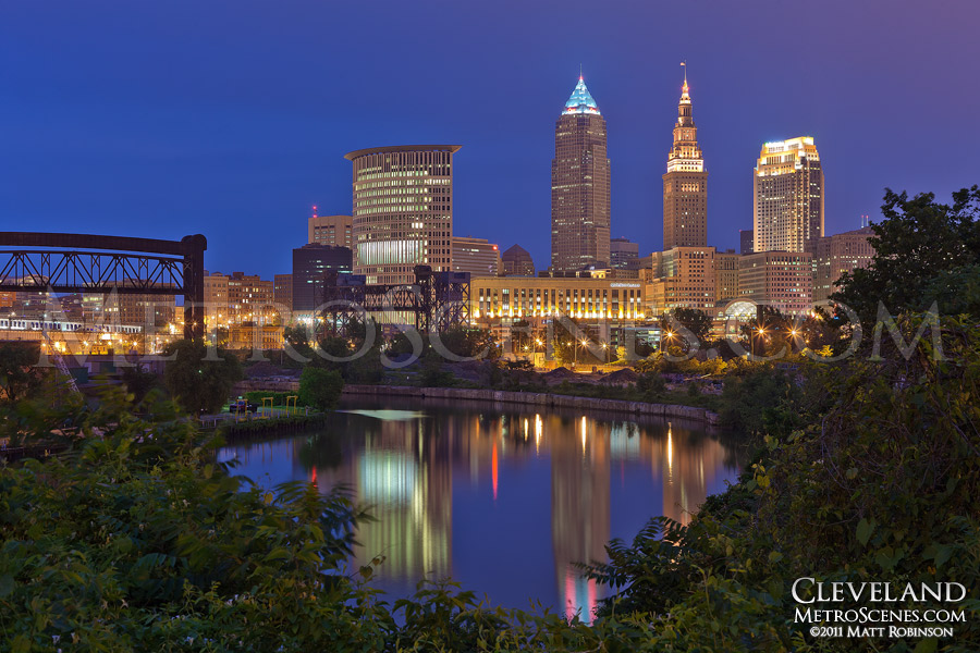 Downtown Cleveland at night with the Cuyahoga River