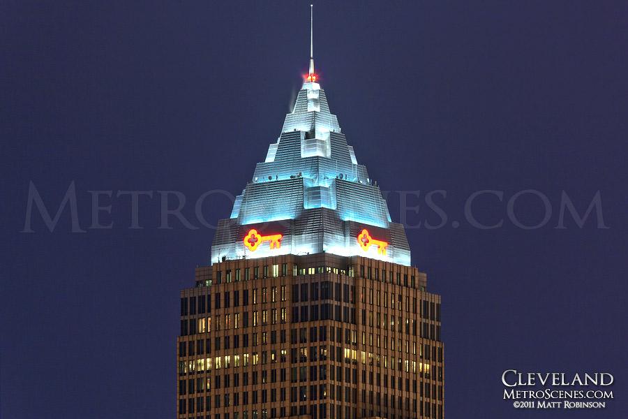Key Tower crown illuminated at night, Cleveland