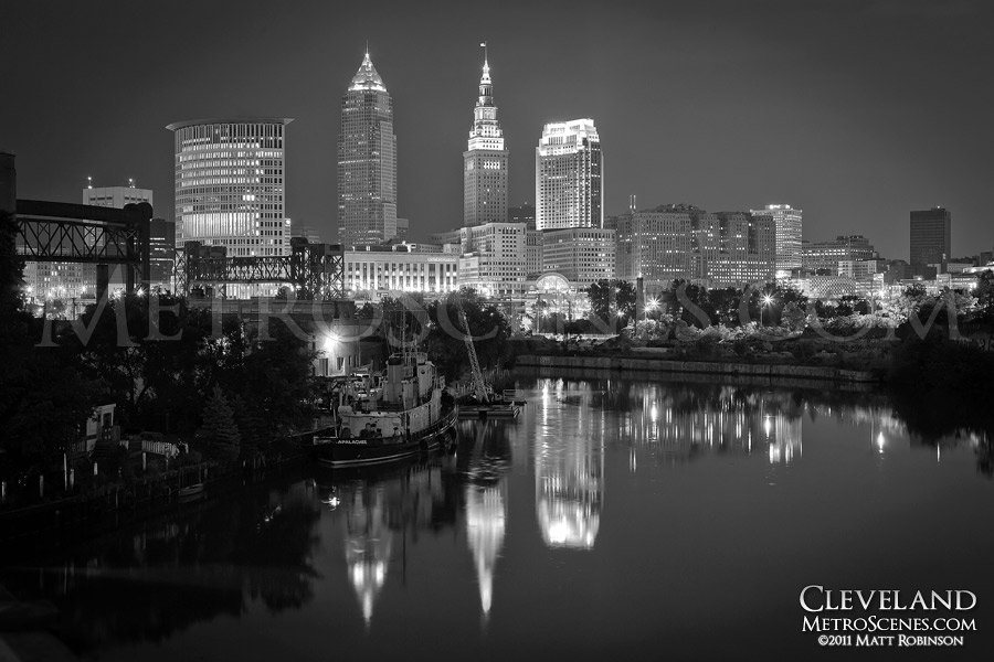 Black and white cityscape of Cleveland, Ohio