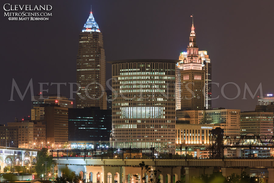 Downtown Cleveland viewed from the top of Franklin Avenue