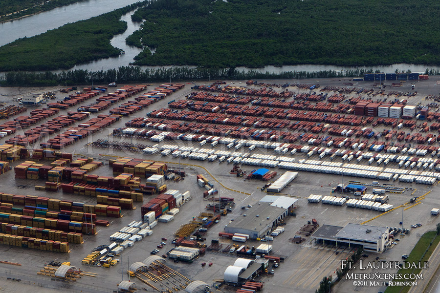 Aerial of cargo containers in Ft. Lauderdale