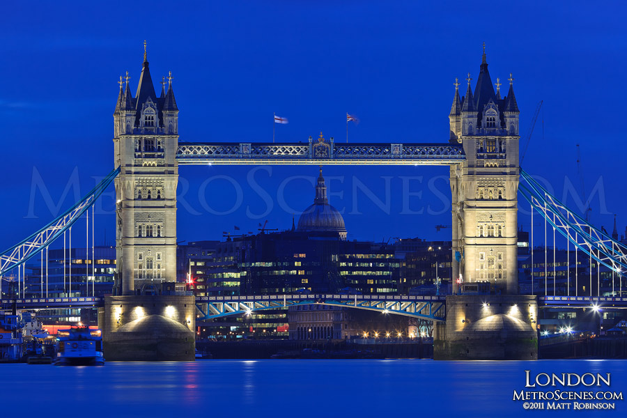 Tower Bridge from the shore of the River Thames