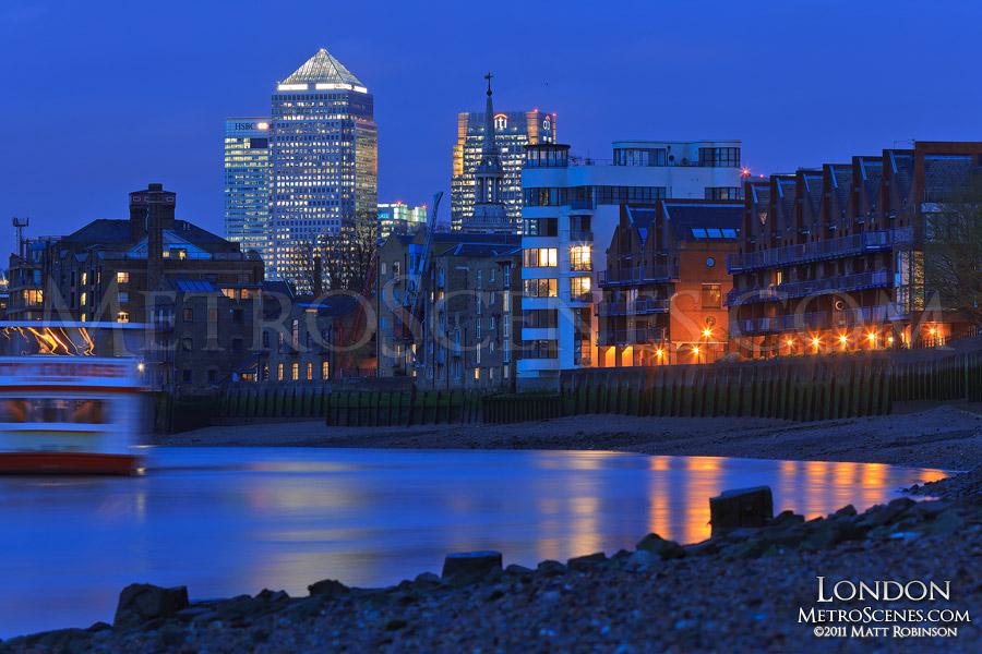 Skyline of Canary Wharf at night, London