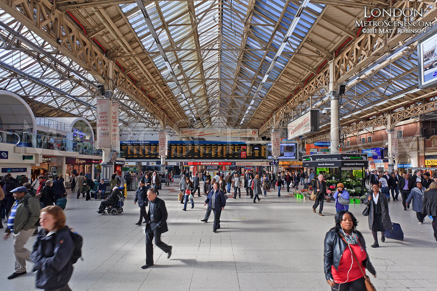 Busy Victoria Station, London