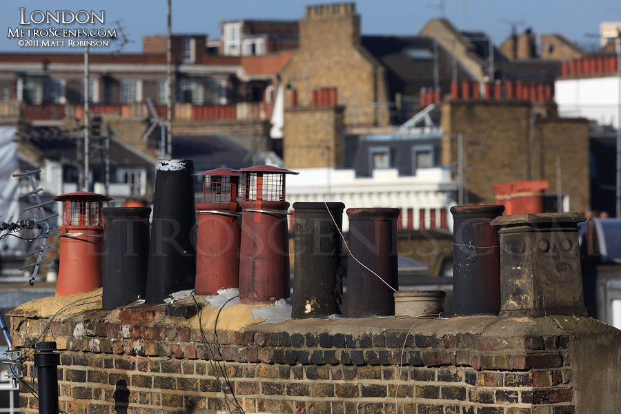 Typical London rooftop chimneys