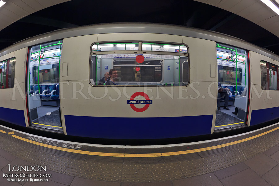 Fisheye of a London Underground Car