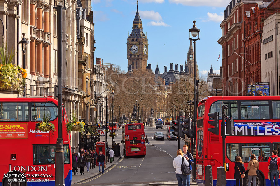 London Buses and Big Ben from Trafalgar Square