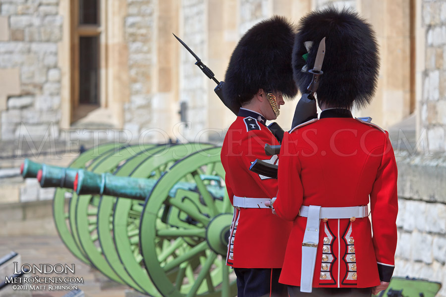 Queen's Guard and cannons