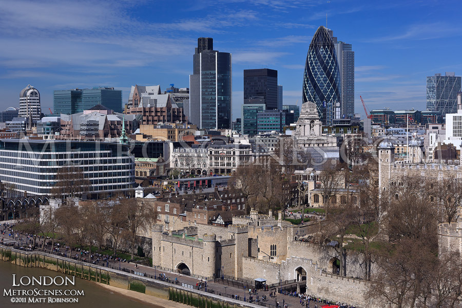 City of London Skyline from Tower Bridge Walkway