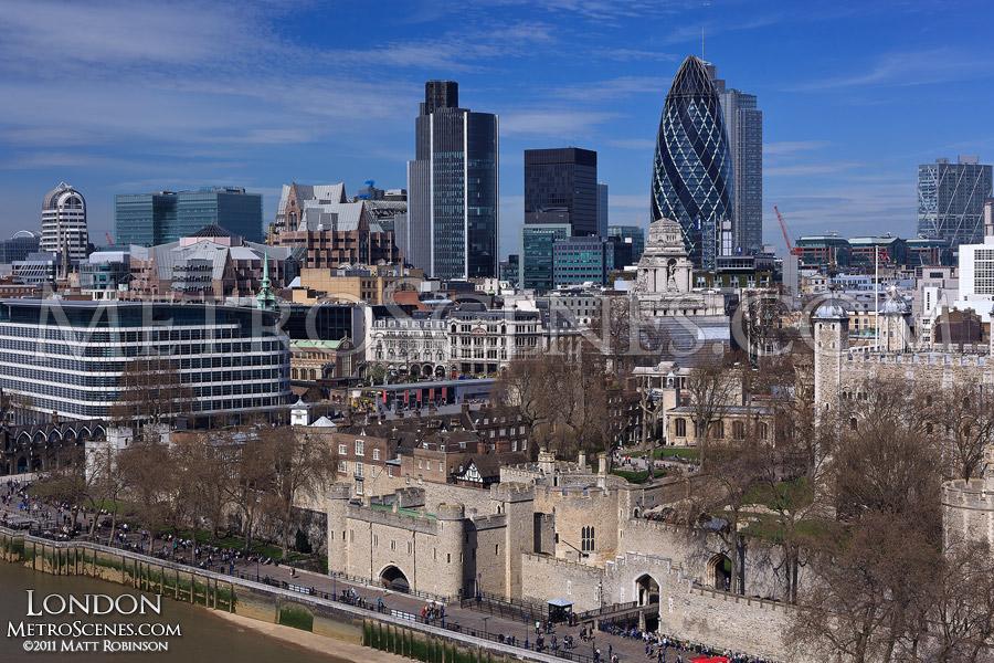 City of London Skyline from Tower Bridge Walkway