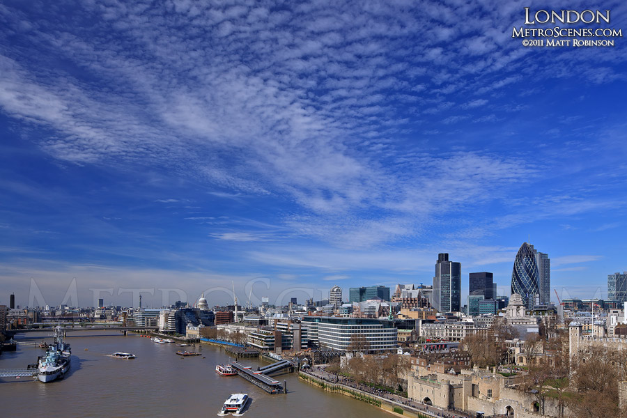 Blue Skies over London, England