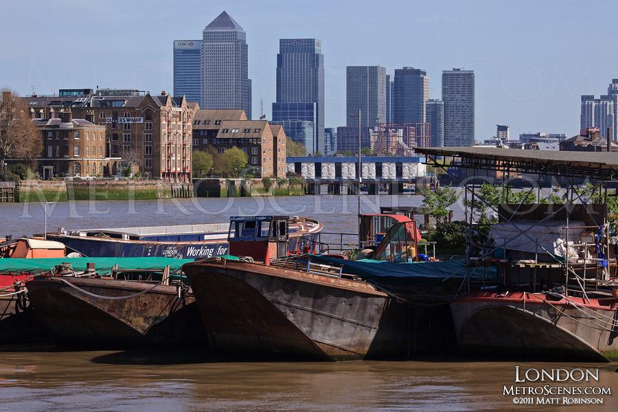 Boats with the Canary Wharf Skyline