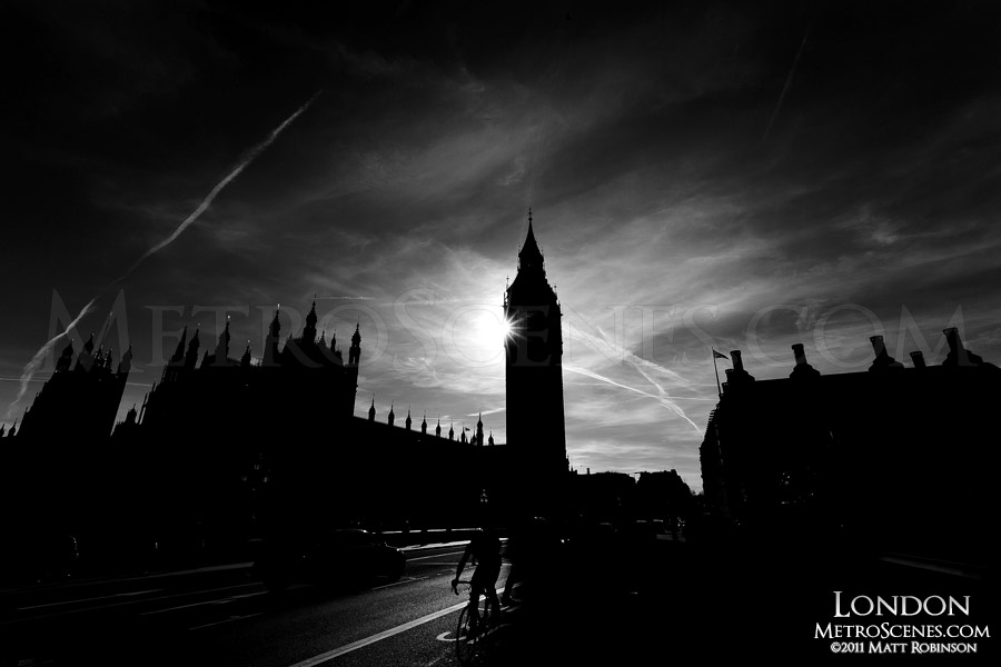 Black and White Silhouette of Big Ben and Houses of Parliament