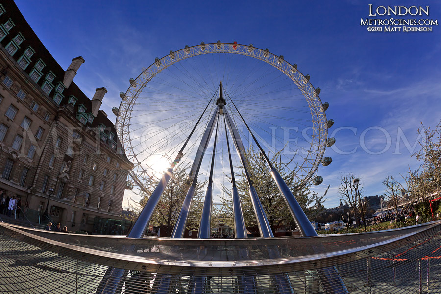 The London Eye with support wires