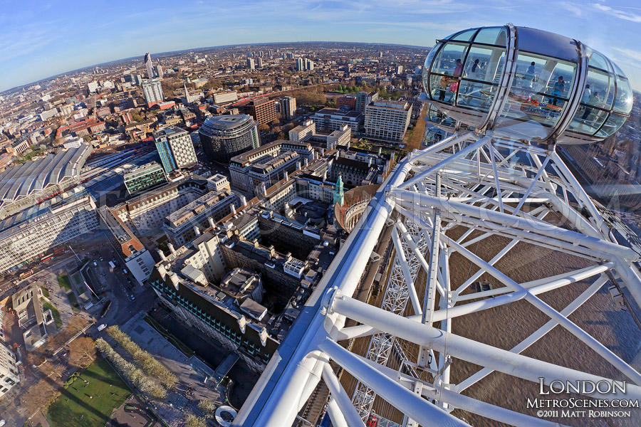 Fisheye view from the top of the EDF London Eye