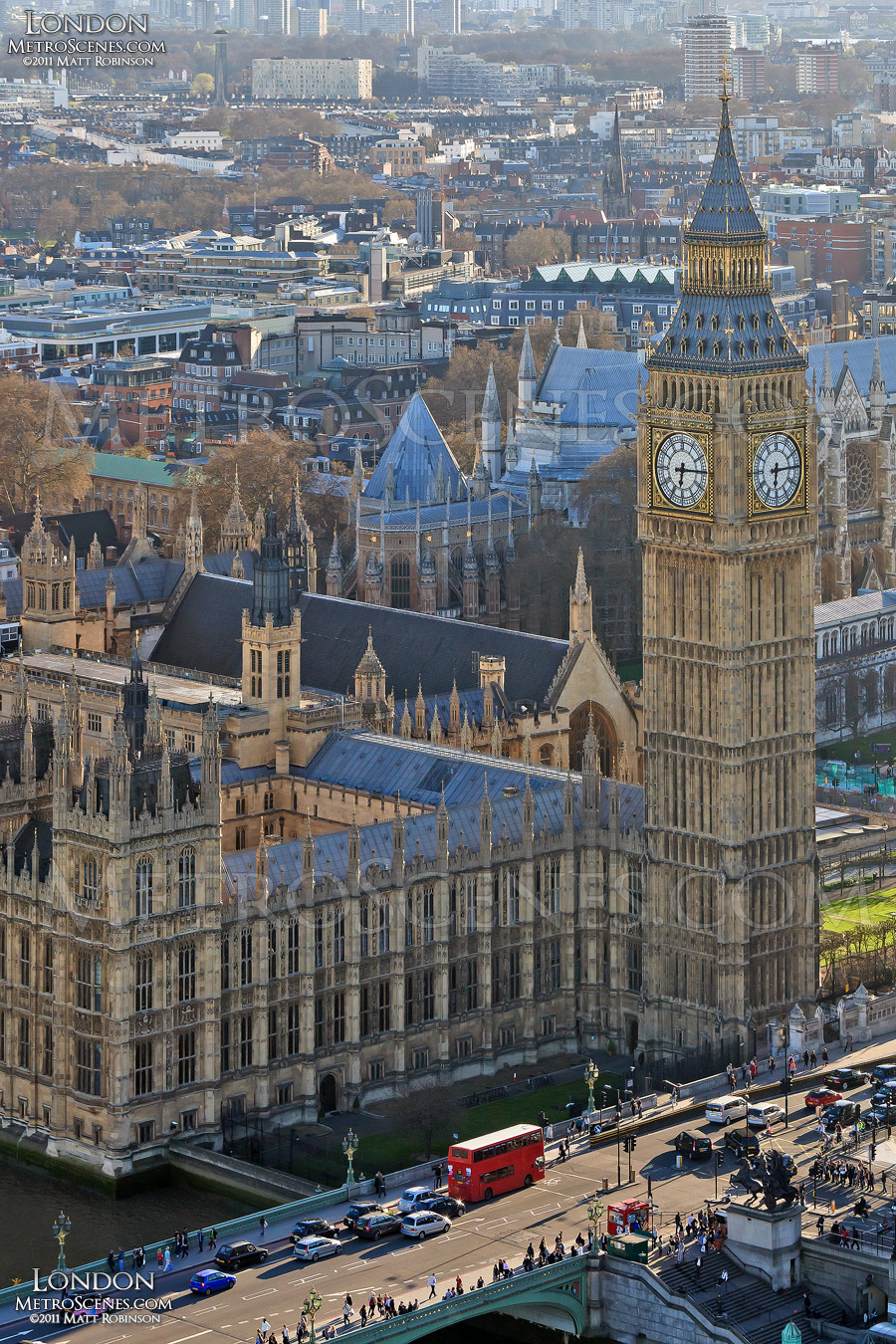 Palace of Westminster with Big Ben from the London Eye